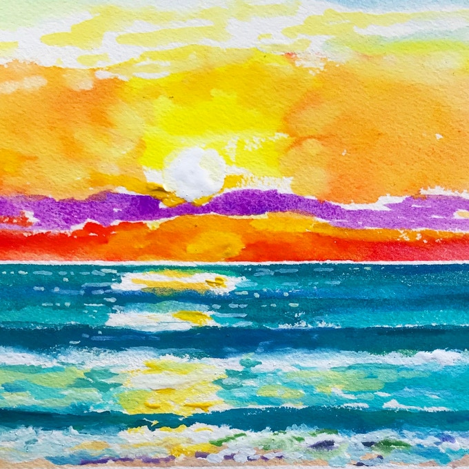 Caribbean Sunrise an Original Watercolor by Harnam is one of many Available as a Reward