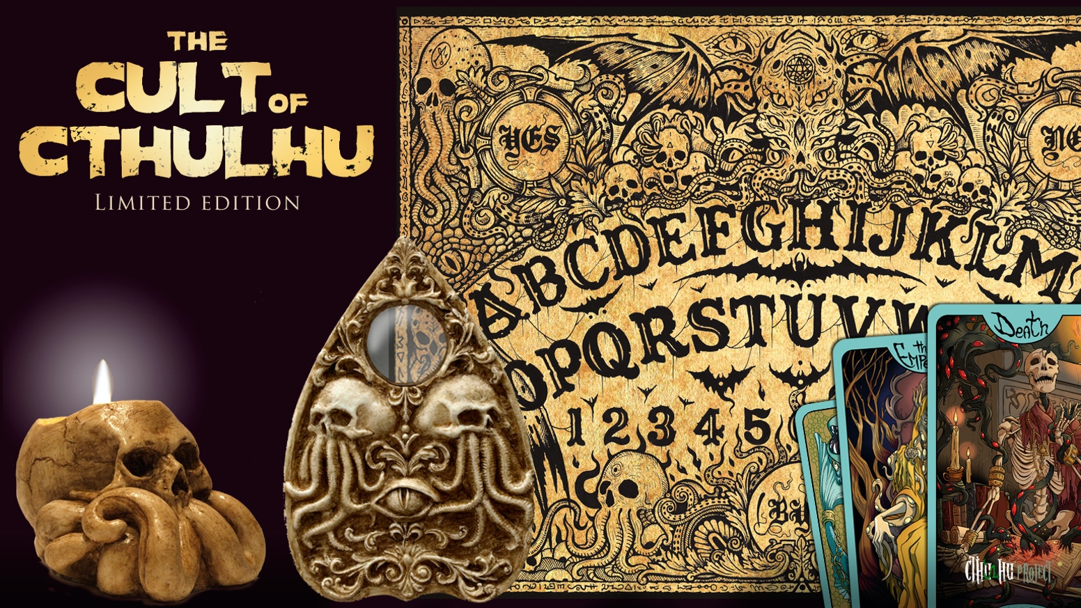 The amazing Cthulhu Ouija board made of wood with the Eye planchette and the Skull candleholder, only for cultists!