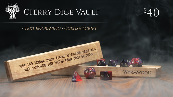 Cherry Dice Vault with Engraving, shown with Red & Purple Dice