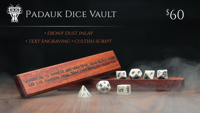 Padauk Dice Vault with Ebony Dust Inlay, shown with Marble Dice
