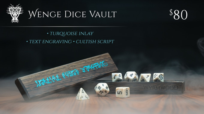 Wenge Dice Vault with Turquoise Inlay, shown with Marble Dice