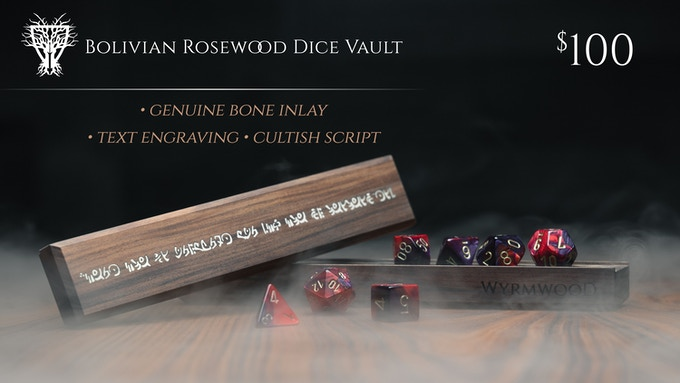 Bolivian Rosewood Dice Vault with Genuine Bone Inlay, shown with Red & Purple Dice