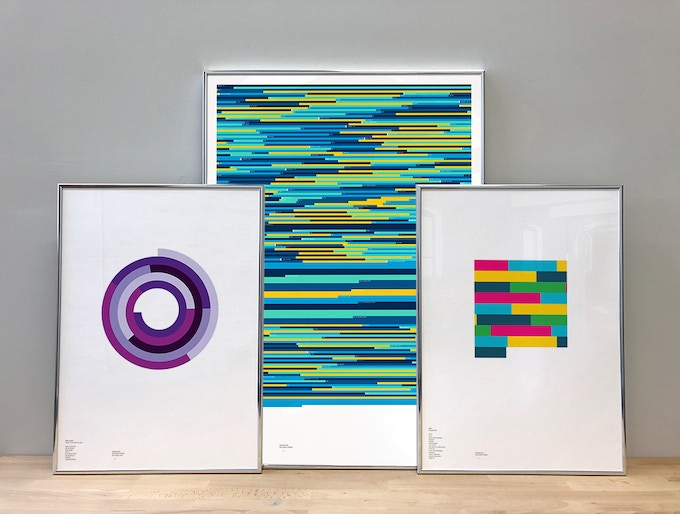 From left to right: 'Power, Corruption & Lies' by New Order (A2, Dusk, Spiral); Autechre (A1, Aqua, Discography); 'Frequencies' by LFO (A2, Heat, Block)