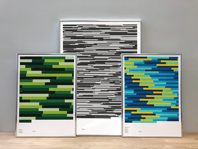 From left to right: LCD Soundsystem (A2, Leaf, Discography); The Fall (A1, Mono, Discography); Chemical Brothers (A2, Aqua, Discography)