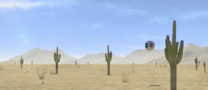 This is the first time we see Sky chasing the paper money in the desert