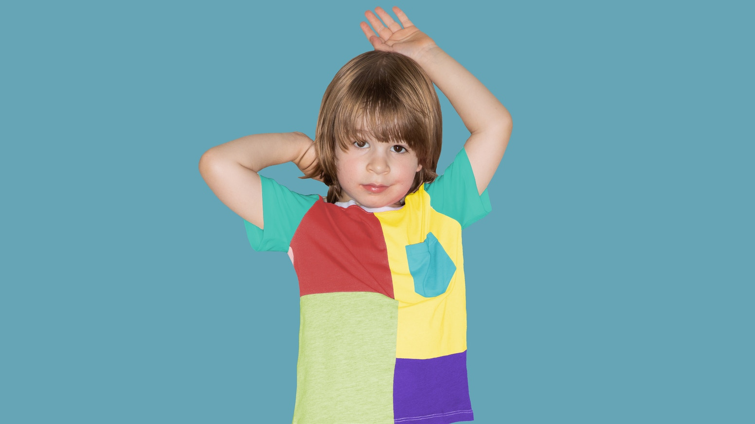 """Our """"Negative Waste, Positive Impact"""" T-shirt is made ENTIRELY from off-cut fabrics and threads! 100% organic cotton. Unisex. 1-4 yrs."""