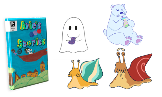 "The paperback collection and set of 3"" character stickers."