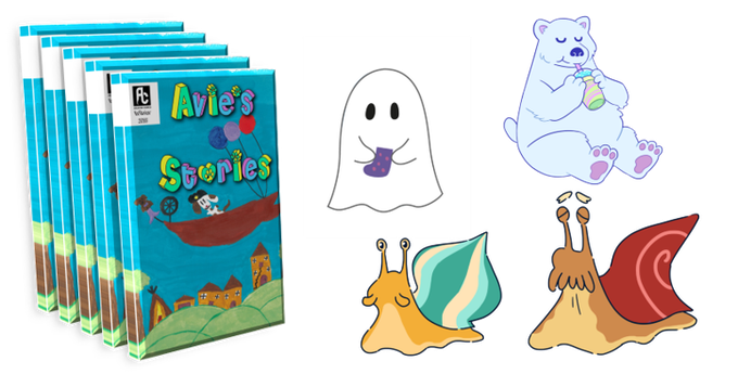 "Five copies of Avie's Stories and five sets of 3"" character stickers."