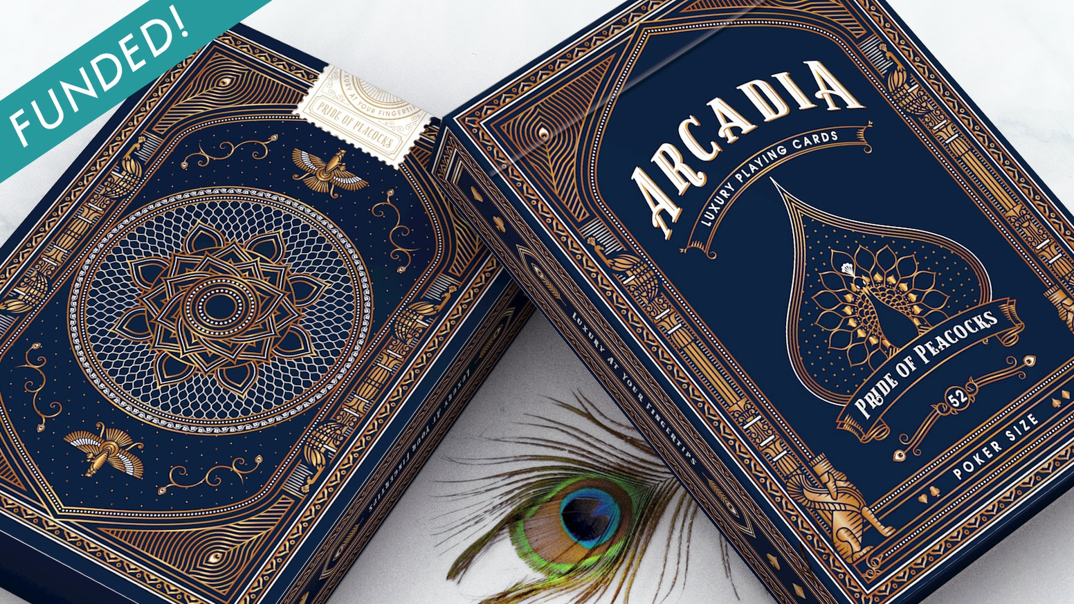 A luxurious deck of playing cards inspired by the peacock's importance in the art and culture of Persian empires.
