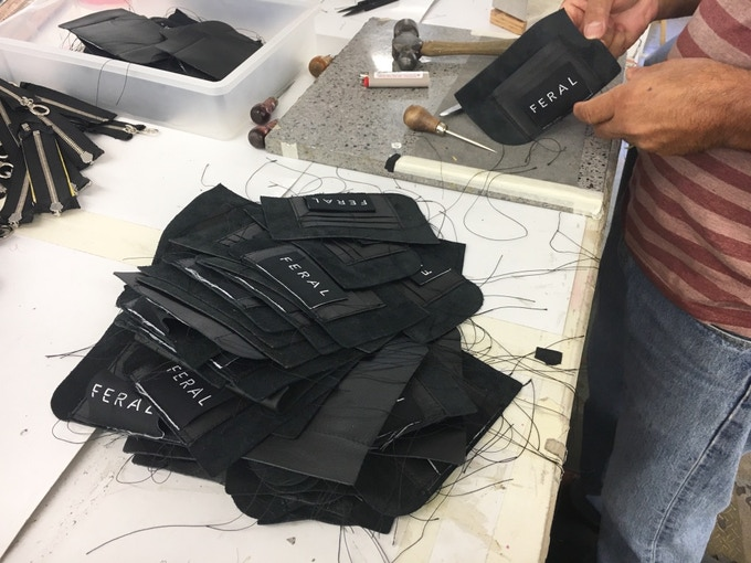 Behind the scenes making of No. 2 Link Wallet at our LA factory.