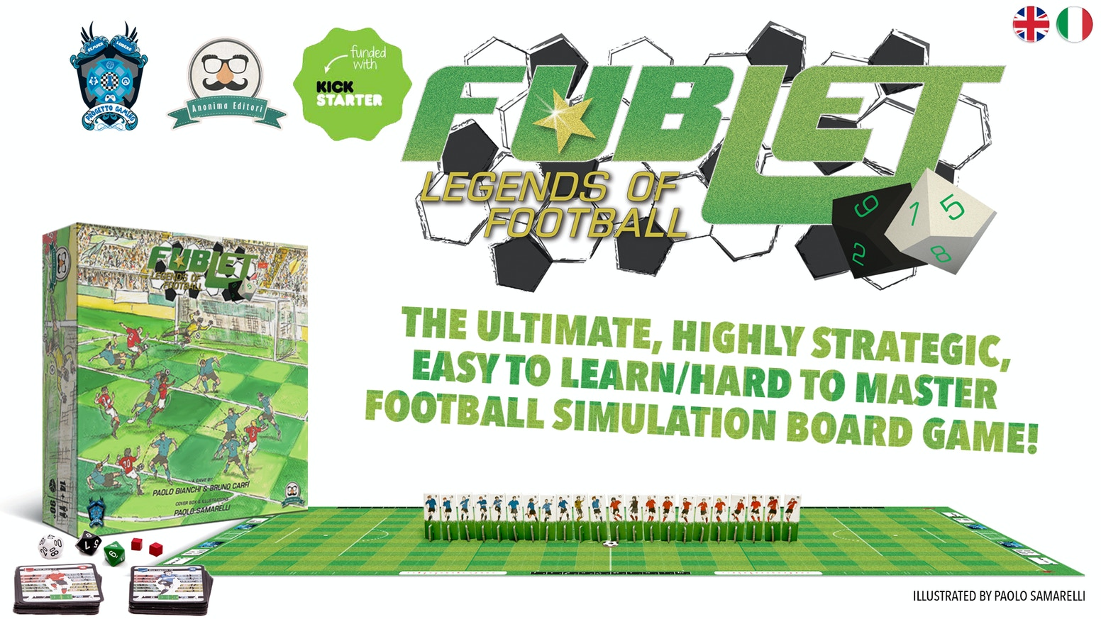 Fublet -Legends of Football- is the ultimate football tabletop game. A deep, intense and strategic simulation, entirely hand-drawn!