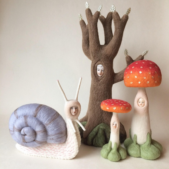 Some of Lizzie's needle felted sculptures