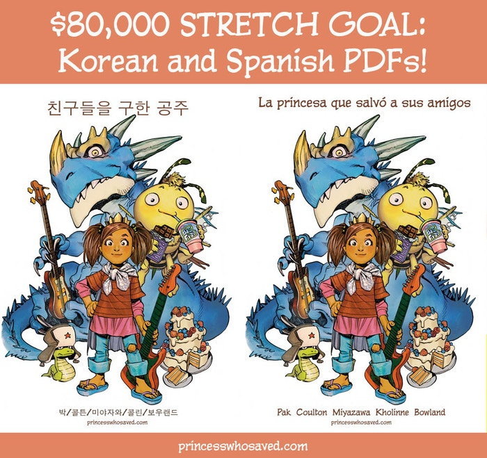If we hit $80,000, every backer at the $12 level and above will get Korean and Spanish language PDFs of the PWSHF!