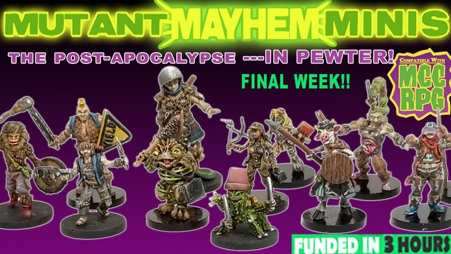 A line of high-quality pewter figures featuring characters and monsters with post-apocalyptic flavor.Minis are now available at the Goodman Games webstore. http://goodman-games.com/blog/2019/03/27/new-in-the-online-store-mutant-mayhem-miniatures/
