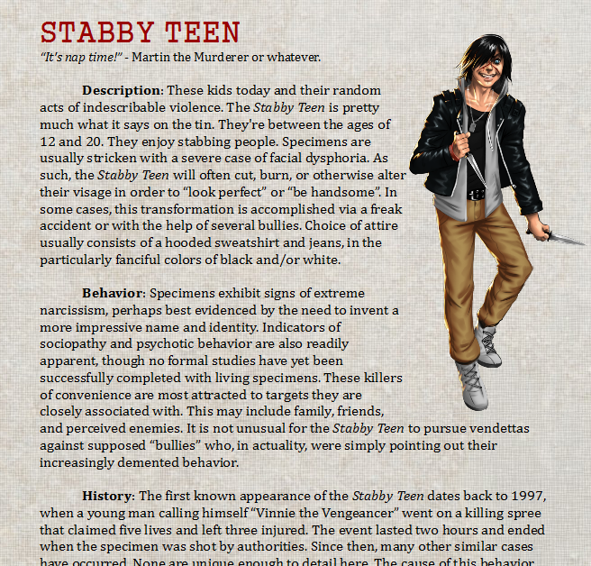 """Selection of the """"Stabby Teen"""" entry!"""