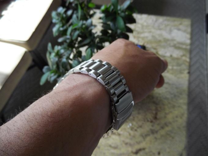 Link bracelet on wrist