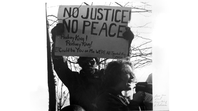 This is Capella at a protest in 1991.  Richard took this picture.