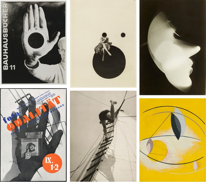 Top left to bottom right by László Moholy-Nagy: : Bauhausbücher 11, 1924,  Olly and Dolly Sisters, 1925,  Photogram Mondgesicht, 1926,  Cover for Foto-Qualität Magazine, 1931,  Sailing (Hilde Horn), 1928,  GAL AB I, 1930
