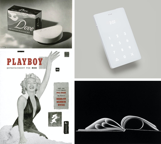 Notable work by Institute of Design alumni, from top left to bottom right: The Dove Soap Bar, The Light Phone, the first edition of Playboy Magazine, Chicago (88-4-214) by Kenneth Josephson, 1988, all designed by alumni of the Institute of Design, formerly known as the New Bauhaus