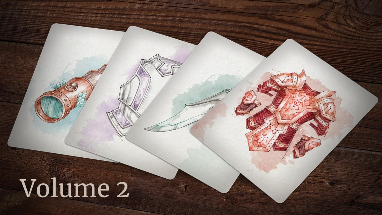 A deck of magic item illustrations for tabletop RPGs.