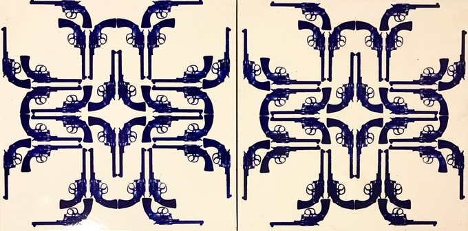 Colt Frac-Tiles, Artemio, 2010. Screen print on ceramic 12 x 12 x 0.25 in. (30.48 x 30.48 x 0.64 cm) Numbered edition of 300