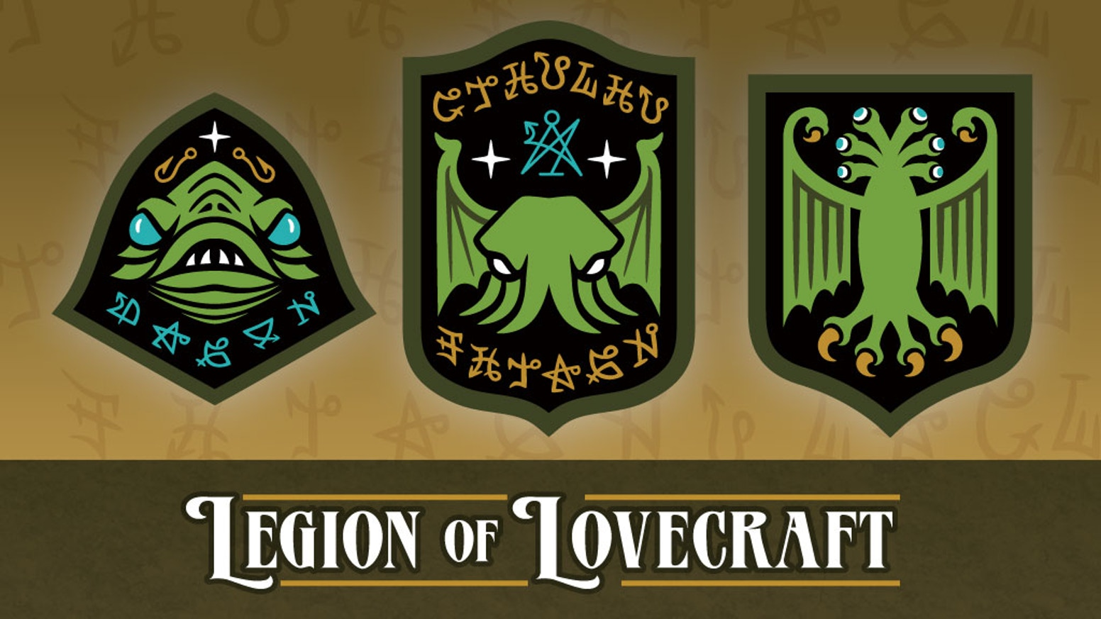 Cthulhu, Dagon & Elder Thing secret society embroidered patches based on the monsters & gods of H. P. Lovecraft.