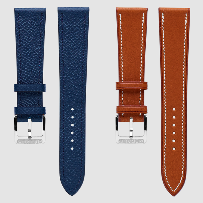 Textured Denim Blue (gauche) & Smooth Cognac (droite)