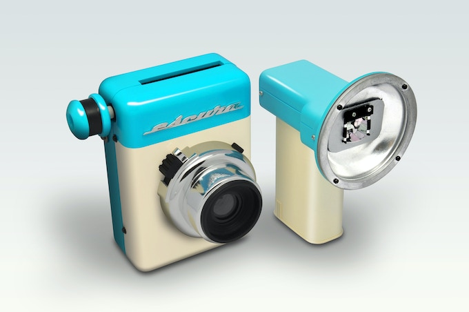 A vintage style external flash also is created to match the retro style of the Instant-60s