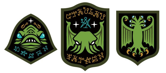 Embroidered patches featuring Dagon, Cthulhu and an Elder Thing from the writings and mythos of H. P. Lovecraft.