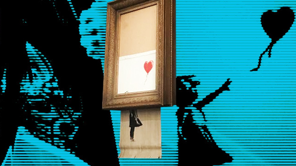 Mini replica of Banksy's shredded Girl With The Red Balloon