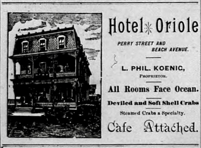 "August 25, 1891 advertisement for 5 Perry Street, then the Hotel Oriole, in the Cape May Daily Star.  ""All Rooms Face Ocean."""