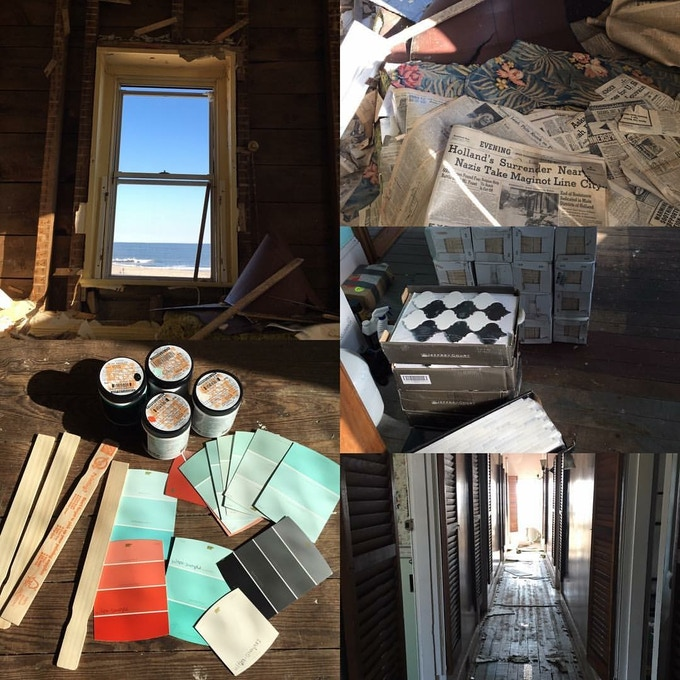 Views from the suites, renovation in progress, and some 1930s and 1940s newspapers we found covering the floorboards.