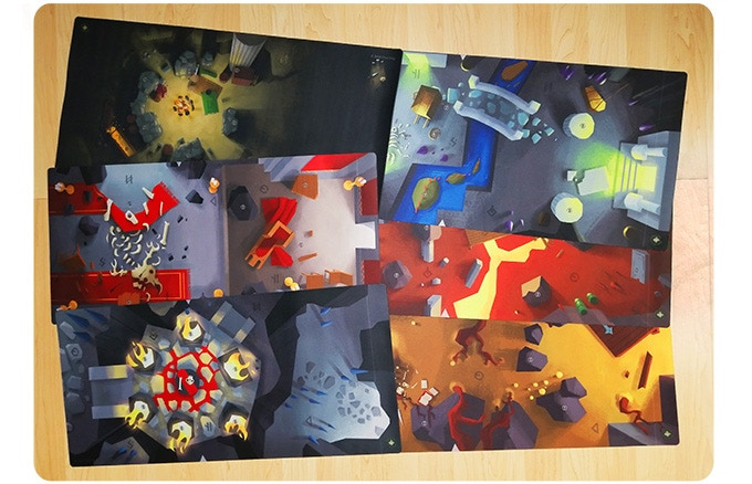 Three different mats, six unique sides. Prototype mats shown, actual product may vary.