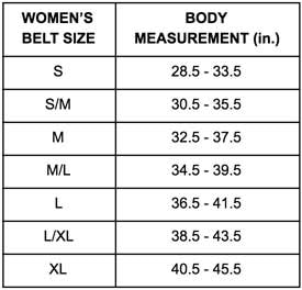 sizing chart for ladies