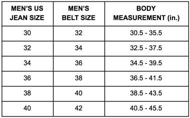 sizing chart for gents
