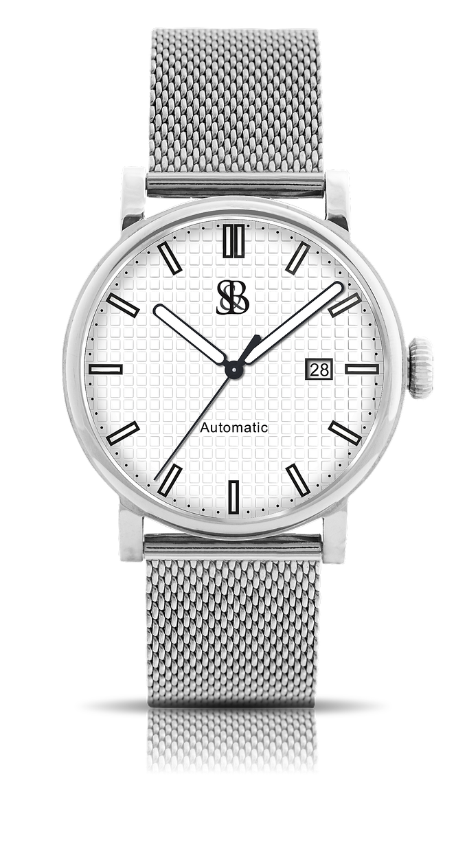 Skyline watch shown with white dial and polished case-Mesh bracelet