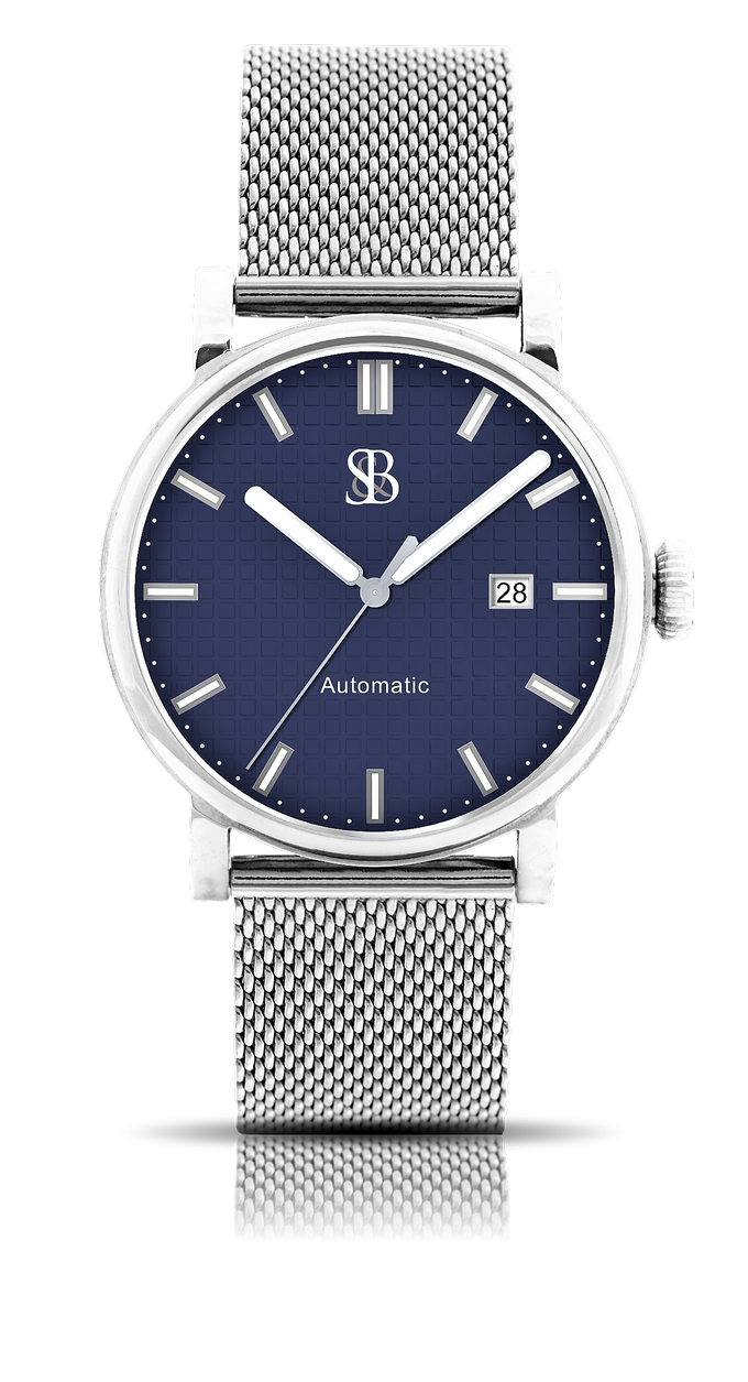 Skyline watch shown with polo blue dial and polished case-Mesh bracelet