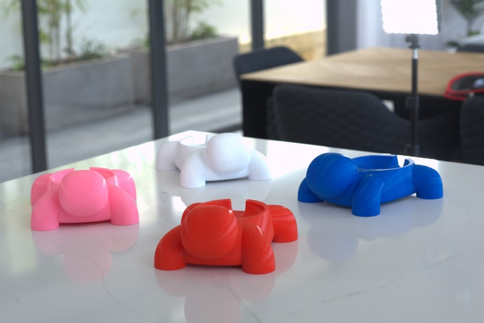 Smurtles are available in Red, Blue, White and Pink