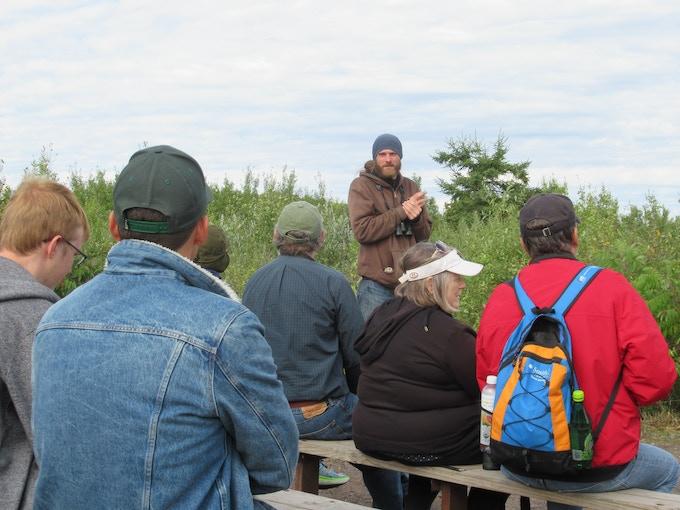 Volunteer Counter Steve Kolbe teaches Advanced Hawk Watching in the Hawk Ridge Outdoor Classroom. Steve is a nighthawk expert.