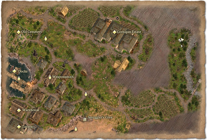 A part of the mini map of Vedwyd, a harbor town in northern Cormac.You can place your own markers on the map and annotate them!