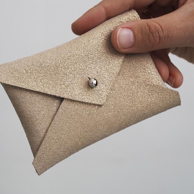 Gold Suede Envelope Purse