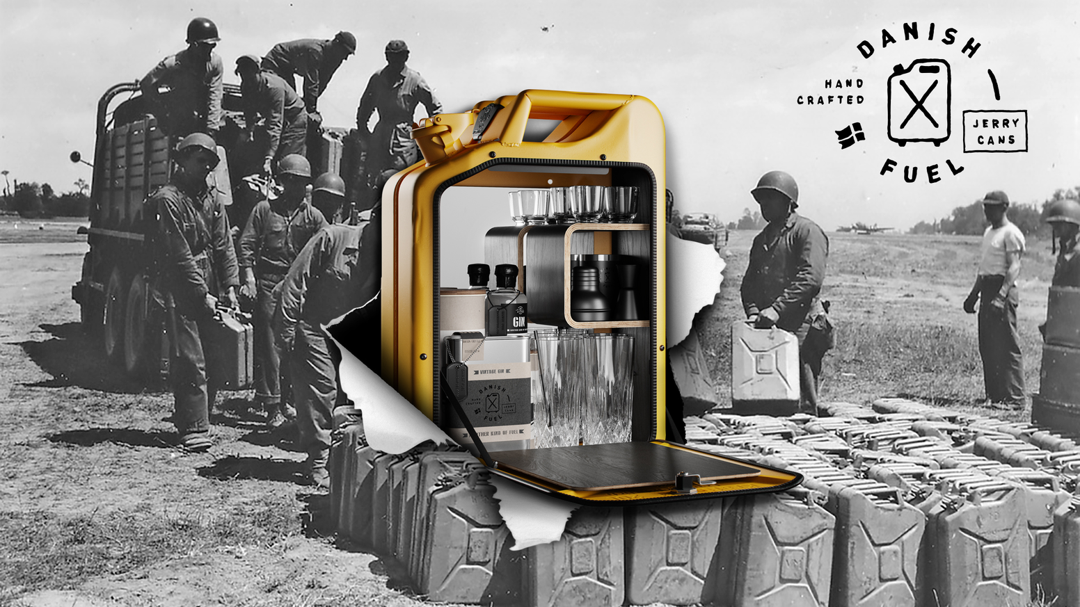 Re-designs of original German World War II fuel can icons. Danish Fuel - Proudly Made in Denmark since 2010, by originals
