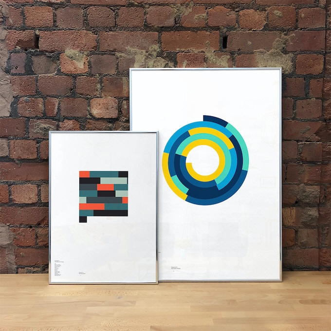 'The Colour and the Shape' by Foo Fighters (A2, 8-Bit, Block), and 'Songs for the Deaf' by Queens of the Stone Age (A1, Aqua, Spiral)