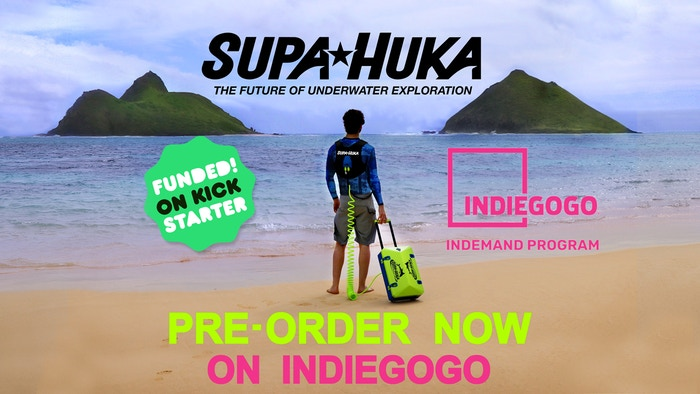 SUPA HUKA is a tankless hookah-diving system that allows you to dive 30 feet (10m) deep for up to 2 hours on a single charge.