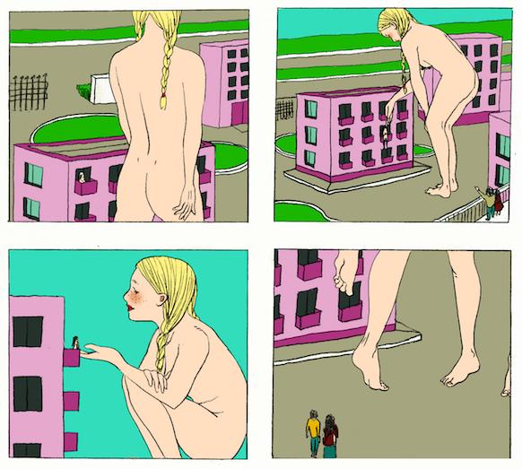 Panels from Hua Tian's comic.