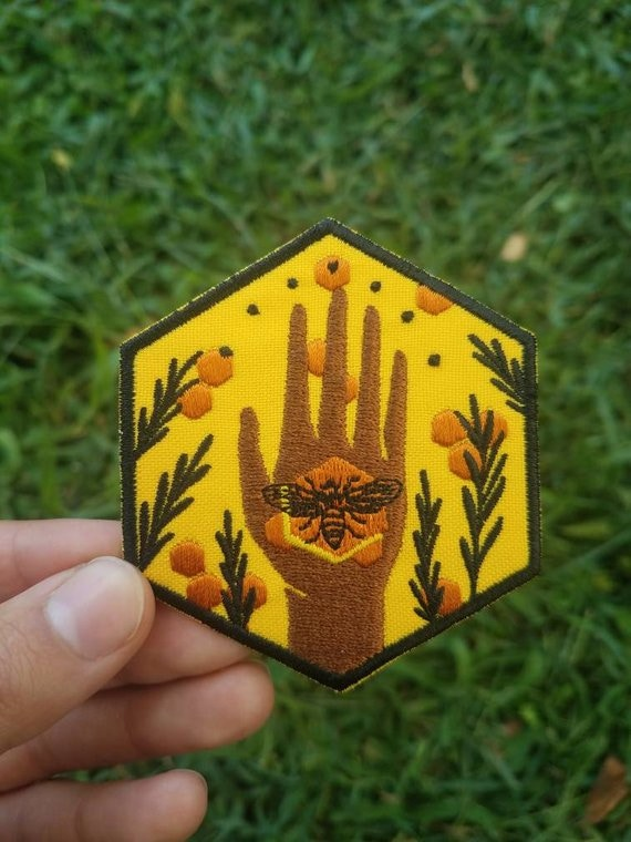 Protect Bees: Hexagonal Embroidered Patch