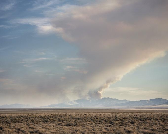Smoke plume, Hogan Fire, Wendover, NV, 2018