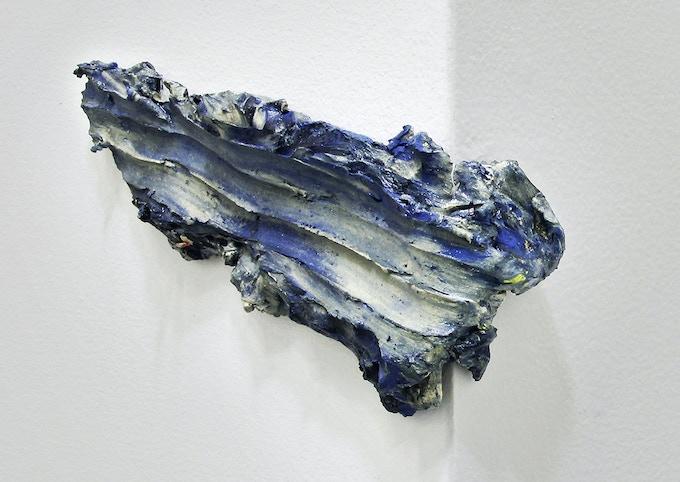 "Casual departure (dusty blue swipe), 2013 Pigmented clay, clear glaze, velcro, 10"" x 4"" x 2"""
