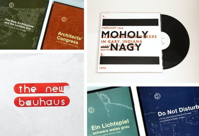 "Top left to bottom right: (All claimed) 4 DVD's of films made by Moholy ""The New Architecture and the London Zoo, Architects' Congress, Ein Lichtspiel and Do Not Disturb."", a vinyl record with the only known recordings of Moholy's voice and an interview with Sibyl Moholy-Nagy and additionally online access to watch our film."