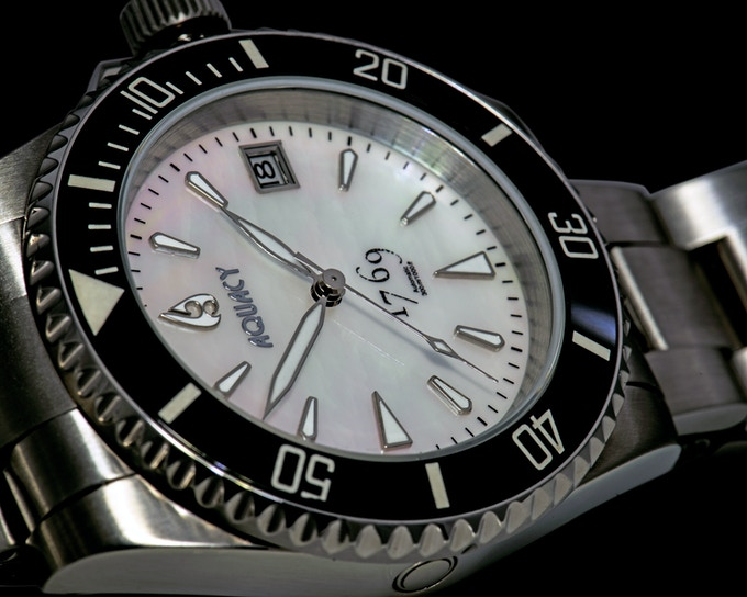 White Mother of Pearl Dial With Black Ceramic Bezel